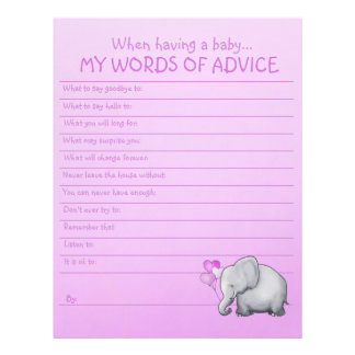 Cute Pink Elephant Baby Girl Shower Advice Game Letterhead