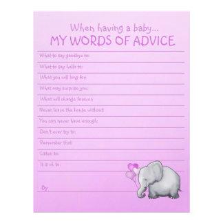 Cute Pink Elephant Baby Girl Shower Advice Game Letterhead