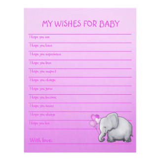 Cute Pink Elephant Baby Girl Shower Wish Card
