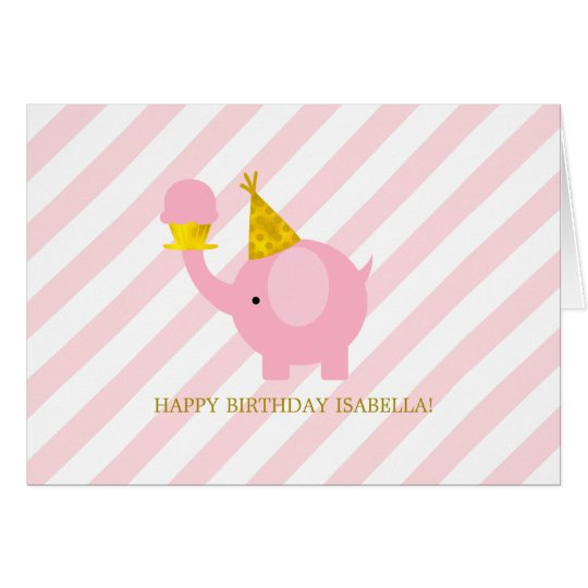 Cute Pink Elephant Birthday Card