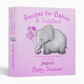 Cute Pink Elephant Girl Baby Shower Scrapbook 3 Ring Binder