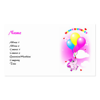 Cute Pink Elephant Happy Birthday Business Card