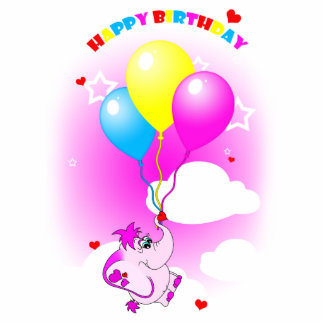 Cute Pink Elephant Happy Birthday Photo Sculpture