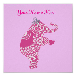 Cute Pink Elephant Personalised Baby Nursery Decor