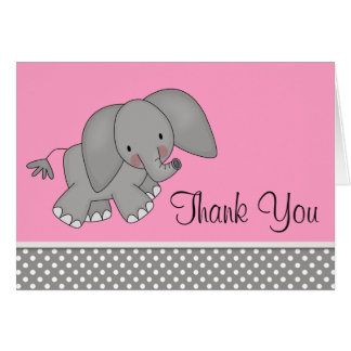 Cute Pink Elephant Thank You Cards