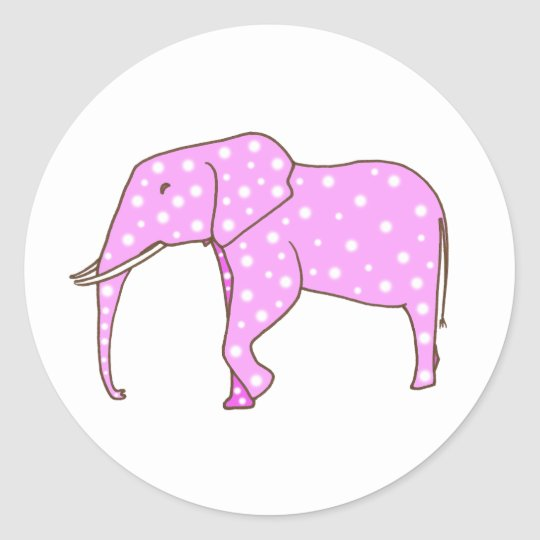 Cute Pink Elephant White Polka Dots Stickers