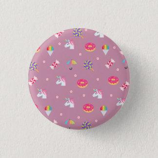 cute pink emoji unicorns candies flowers lollipops 1 inch round button