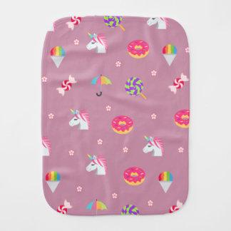 cute pink emoji unicorns candies flowers lollipops baby burp cloth