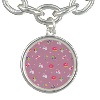 cute pink emoji unicorns candies flowers lollipops charm bracelet