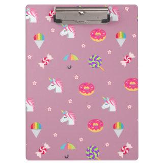 cute pink emoji unicorns candies flowers lollipops clipboard