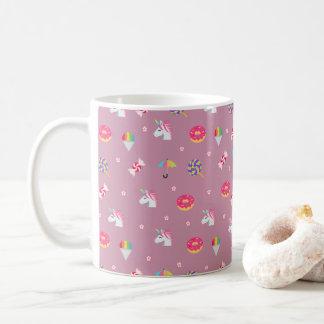 cute pink emoji unicorns candies flowers lollipops coffee mug