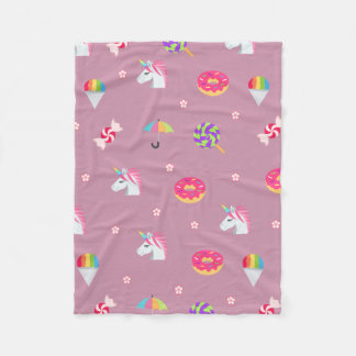 cute pink emoji unicorns candies flowers lollipops fleece blanket