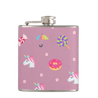 cute pink emoji unicorns candies flowers lollipops hip flask