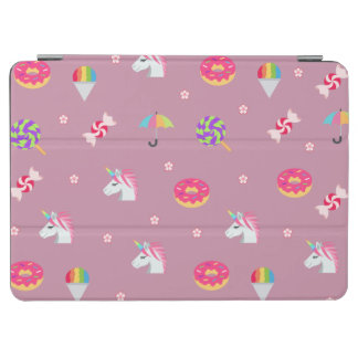 cute pink emoji unicorns candies flowers lollipops iPad air cover