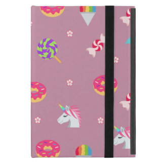cute pink emoji unicorns candies flowers lollipops iPad mini cover