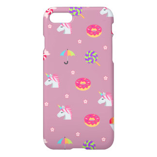cute pink emoji unicorns candies flowers lollipops iPhone 8/7 case