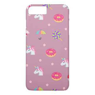 cute pink emoji unicorns candies flowers lollipops iPhone 8 plus/7 plus case