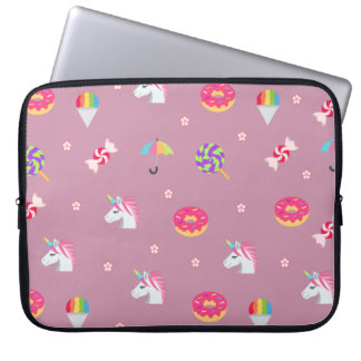 cute pink emoji unicorns candies flowers lollipops laptop sleeve