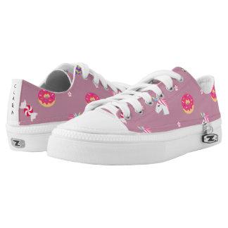 cute pink emoji unicorns candies flowers lollipops Low-Top sneakers