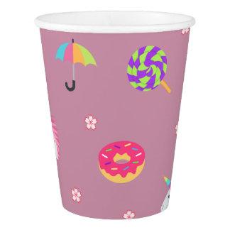 cute pink emoji unicorns candies flowers lollipops paper cup
