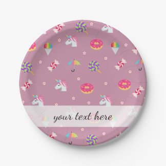 cute pink emoji unicorns candies flowers lollipops paper plate