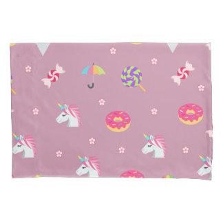 cute pink emoji unicorns candies flowers lollipops pillowcase