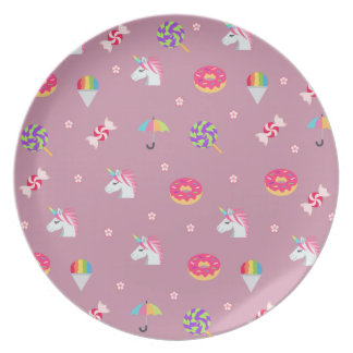 cute pink emoji unicorns candies flowers lollipops plate