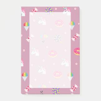 cute pink emoji unicorns candies flowers lollipops post-it notes