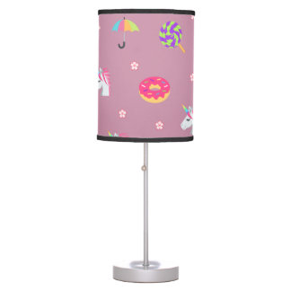 cute pink emoji unicorns candies flowers lollipops table lamp