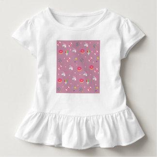 cute pink emoji unicorns candies flowers lollipops toddler t-shirt