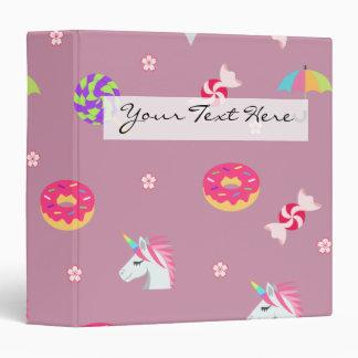 cute pink emoji unicorns candies flowers lollipops vinyl binders