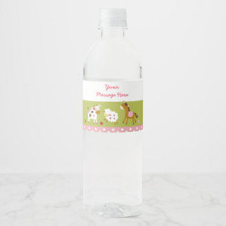 Cute Pink Farm Animal Baby Shower Water Bottle Label