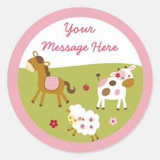 Cute Pink Farm Animal Classic Round Sticker