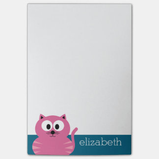 Cute Pink Fat Cat - Blue Background Post-it Notes