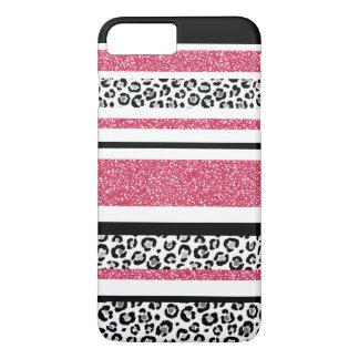 Cute pink faux glitter leopard print stripes iPhone 8 plus/7 plus case