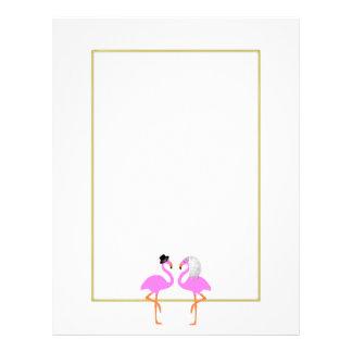 Cute Pink Flaingo Bride Groom Wedding Letterhead