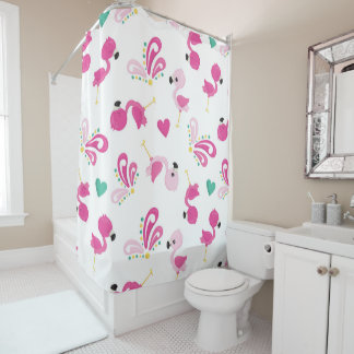 Cute Pink Flamingo and Flourish Patterned