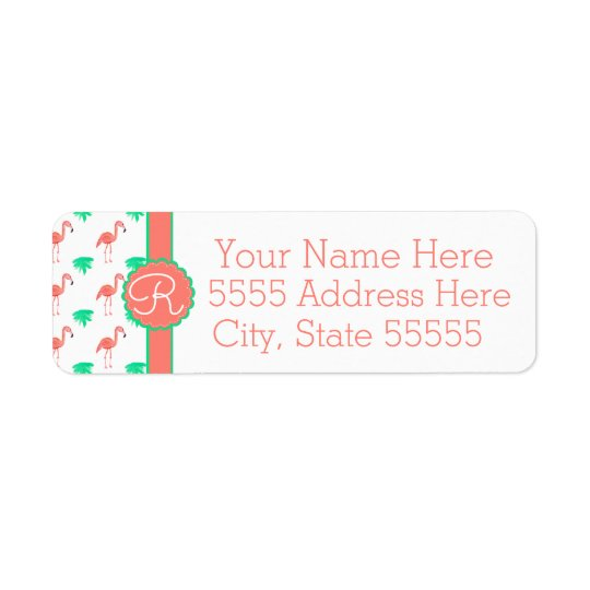 Cute Pink Flamingo Patterned Monogrammed Return Address Label