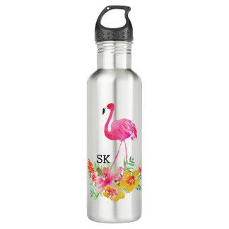 Cute Pink Flamingo & Tropical Flowers Bouquet 710 Ml Water Bottle