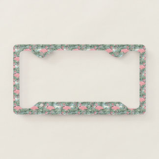 Cute Pink Flamingoes Palm Leafs Pattern License Plate Frame