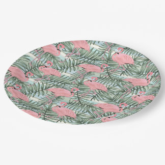 Cute Pink Flamingoes Palm Leafs Pattern Paper Plate