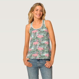 Cute Pink Flamingoes Palm Leafs Pattern Tank Top