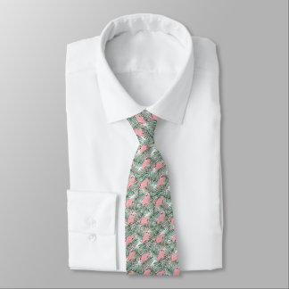 Cute Pink Flamingoes Palm Leafs Pattern Tie
