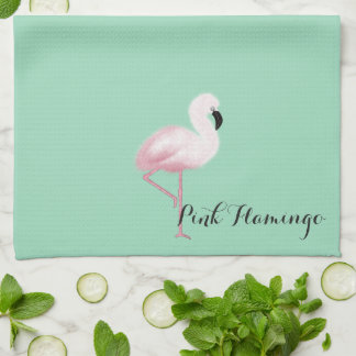 Cute Pink Flamingos Blue Towels