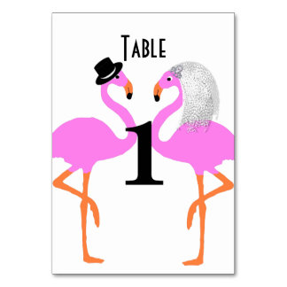 Cute Pink Flamingos Bride & Groom Wedding Card