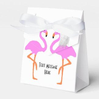 Cute Pink Flamingos Bride & Groom Wedding Favor Box