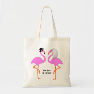 Cute Pink Flamingos Bride & Groom Wedding Tote Bag