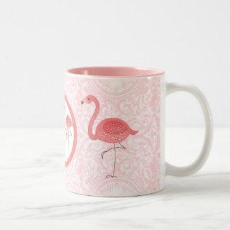 Cute Pink Flamingos & Floral Swirls Two-Tone Coffee Mug