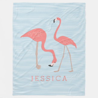 Cute  Pink Flamingos Illustration Fleece Blanket