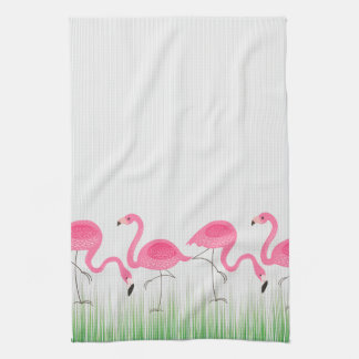 Cute Pink Flamingos Illustration Kitchen Towel